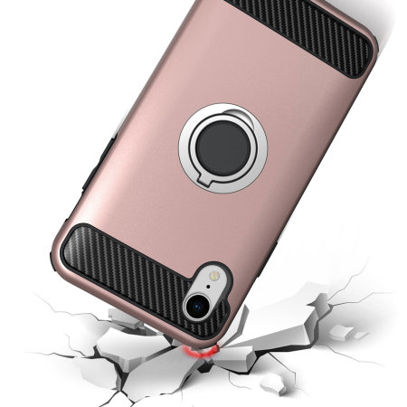 olixar armaring iphone xr finger loop tough case - rose gold