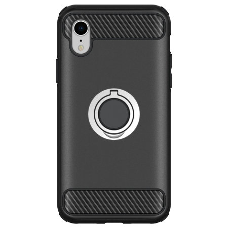 olixar armaring iphone xr finger loop tough case - black