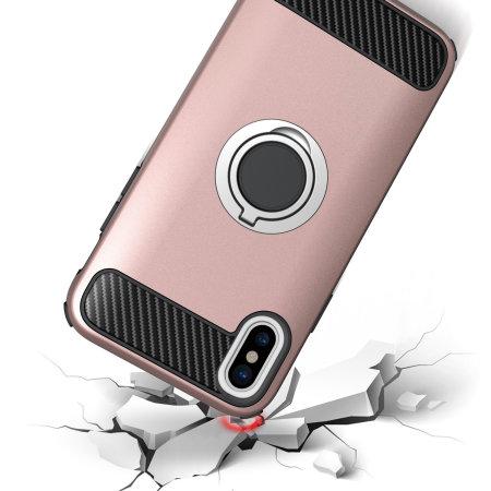 olixar armaring iphone xs max finger loop tough case - rose gold