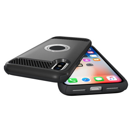 olixar armaring iphone xs max finger loop tough case - black
