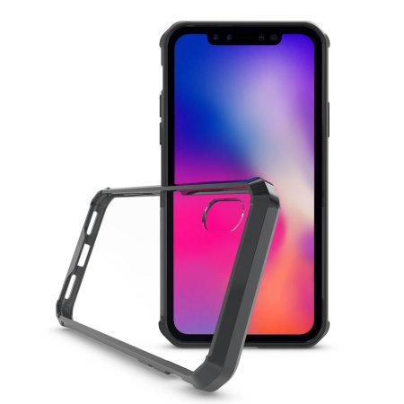 olixar exoshield iphone xr tough snap-on case - black / clear