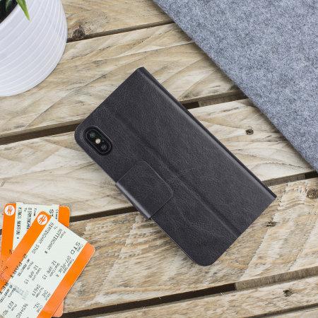 Olixar Lederen stijl portemonnee iPhone XS Max Case - Zwart