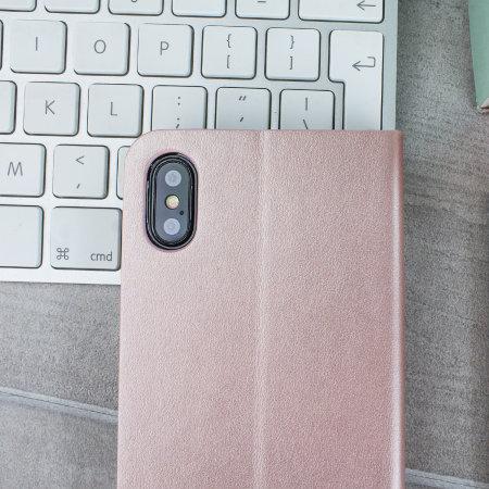 Olixar Lederen stijl portemonnee iPhone XS Max Case - Rose Goud
