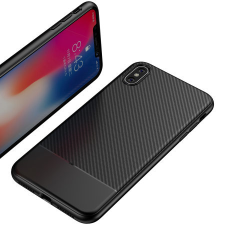 Olixar Carbon Fibre Apple iPhone XS Case - Black
