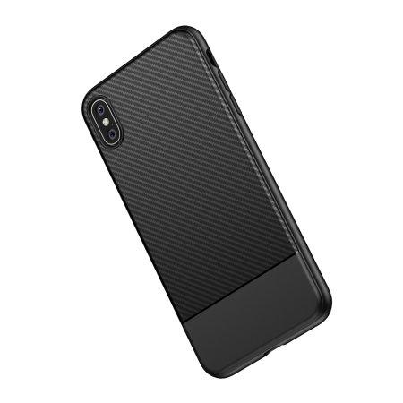 olixar carbon fibre apple iphone xs max case - black
