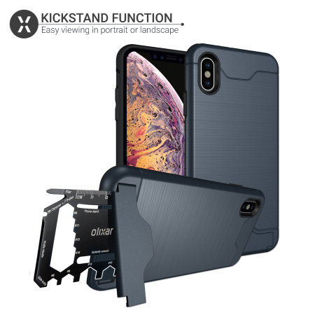 olixar x-ranger iphone xs max tough case - marine blue