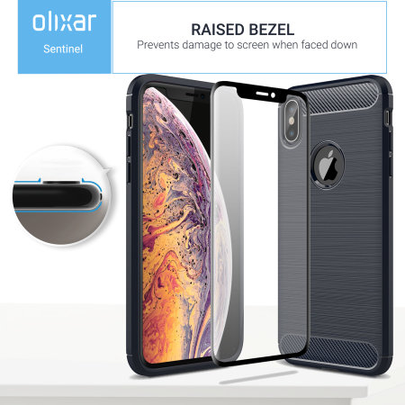 Olixar Sentinel iPhone XS Max Case en Screenprotector - Blauw