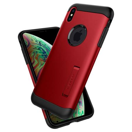 Spigen Slim Armor iPhone XS Tough Case - Merlot Red