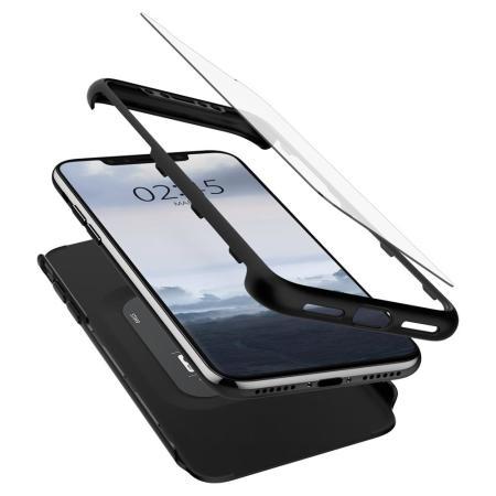 Funda iPhone XS Spigen Thin Fit con protector de pantalla - Negro