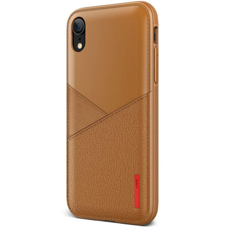 vrs design leather fit label iphone xr leather-style case - brown