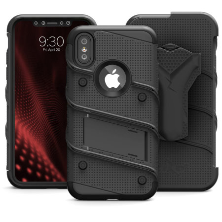 zizo bolt iphone xs max tough case & screen protector - black