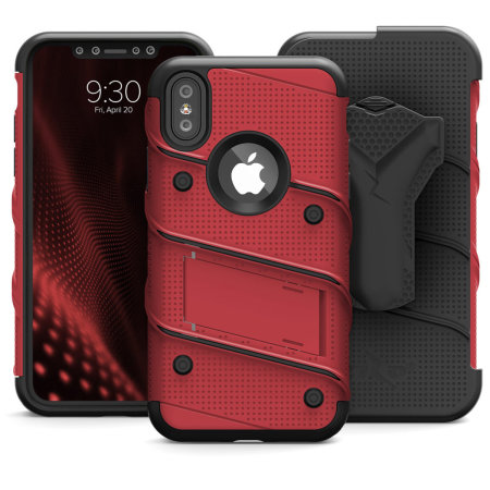 zizo bolt iphone xs max tough case & screen protector - red / black