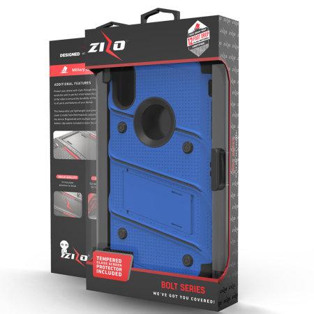 zizo bolt iphone xs max tough case & screen protector - blue / black