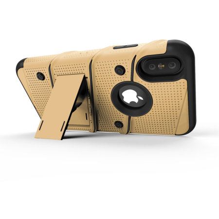 zizo bolt iphone xs max tough case & screen protector - gold / black