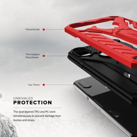 Zizo Static iPhone XS Max Tough Case & Kickstand - Red / Black