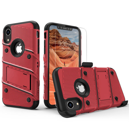 Zizo Bolt iPhone XR Tough Case & Screen Protector - Red / Black