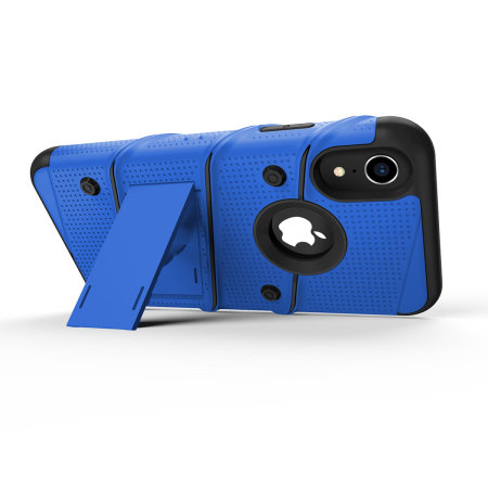 zizo bolt iphone xr tough case & screen protector - blue / black