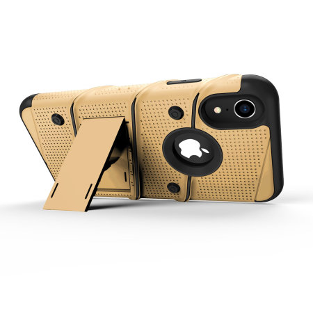 zizo bolt iphone xr tough case & screen protector - gold / black