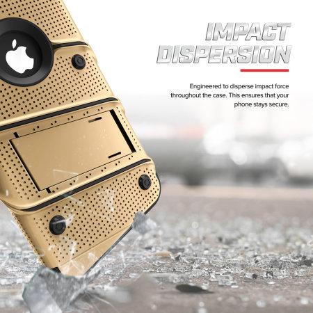 zizo bolt iphone xr tough case & screen protector - gold / black