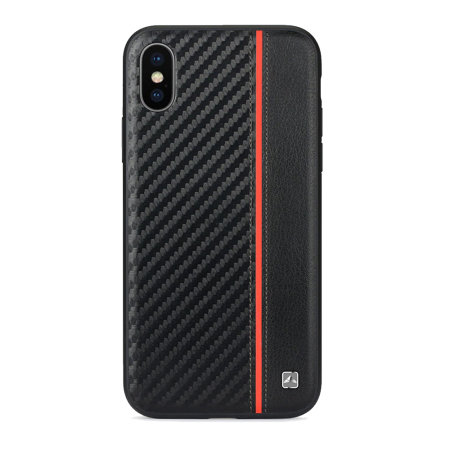 meleovo iphone xs max carbon premium leather case - black / red