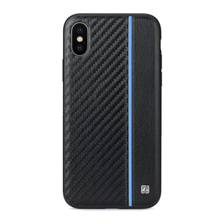 meleovo iphone xs max carbon premium leather case - black / blue