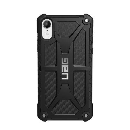 uag monarch premium iphone xr protective case - carbon fibre