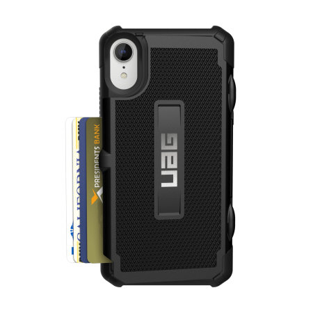 uag trooper iphone xr protective wallet case - black