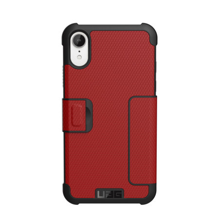 uag metropolis iphone xr rugged wallet case - magma