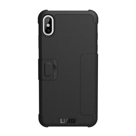 uag metropolis iphone xs max rugged wallet case - black
