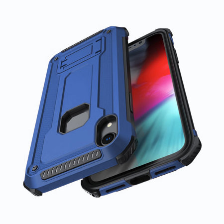 olixar manta iphone xr tough case with tempered glass - blue