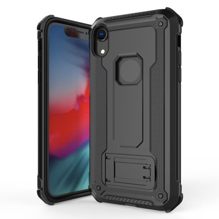 olixar manta iphone xr tough case with tempered glass - black