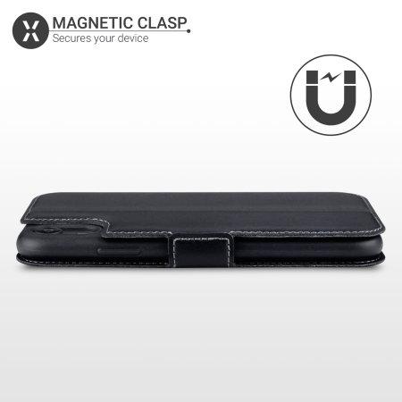 Olixar Slim Genuine Leather Flip iPhone XR Wallet Case - Black