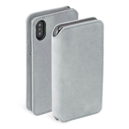krusell broby 4 card iphone xs slim wallet case - grey
