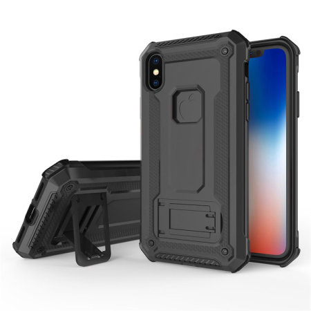 Olixar Manta iPhone XS Tough Case with Tempered Glass - Black