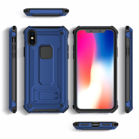 olixar manta iphone xs tough case with tempered glass - blue