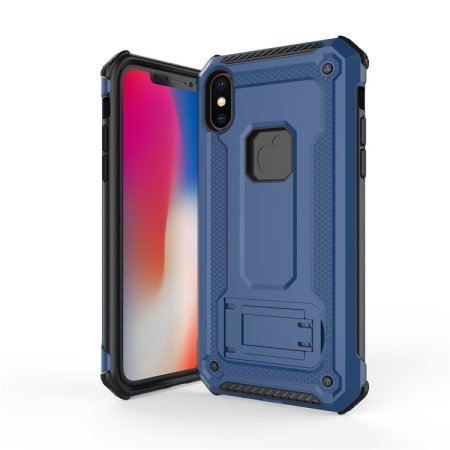olixar manta iphone x tough case with tempered glass - blue