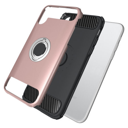 olixar armaring iphone xs finger loop tough case - rose gold