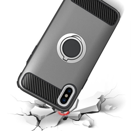 olixar armaring iphone x finger loop tough case - silver