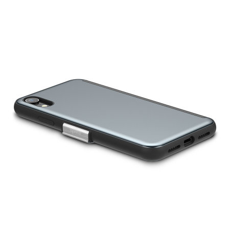 moshi stealthcover iphone xr clear view case - gunmetal grey