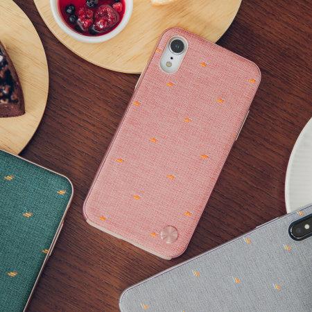 moshi vesta iphone xr textile pattern case - macaron pink