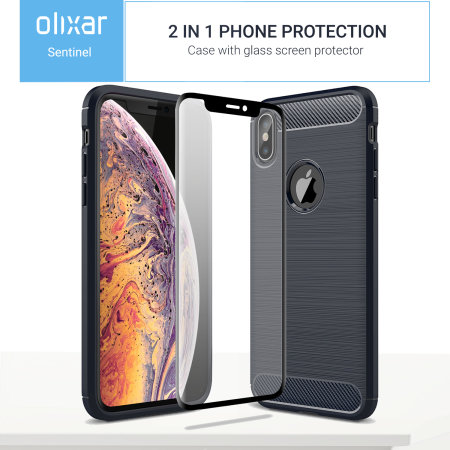 olixar sentinel iphone xs case with glass screen protector - blue