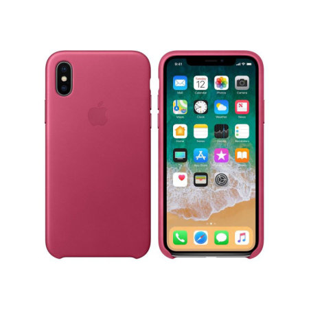 apple mqtj2zm/a leather iphone x - fuchsia