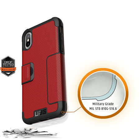 uag metropolis rugged iphone xs wallet case - magma