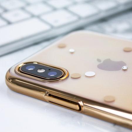 unique polka 360 case iphone xs case - gold / clear