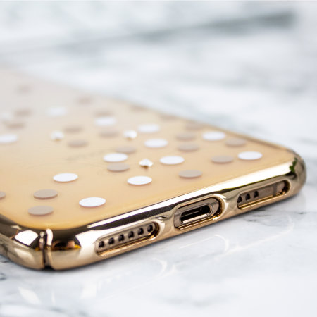 unique polka 360 case iphone xs case - gold / clear