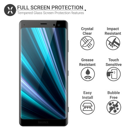 Olixar Sony Xperia XZ3 Full Cover Glass Screen Protector - Black