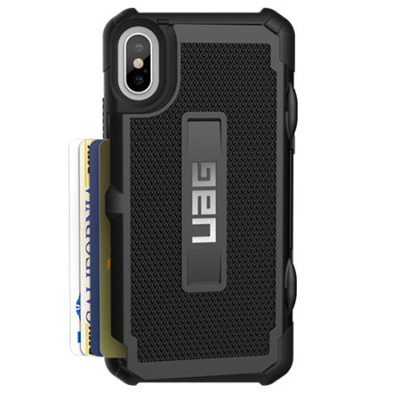 uag trooper iphone xs protective wallet case - black