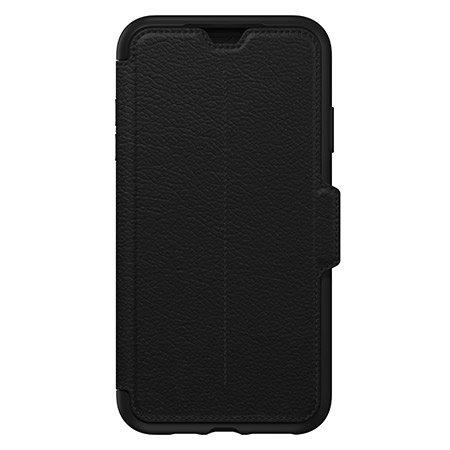 otterbox strada folio iphone xs max leather wallet case - shadow black