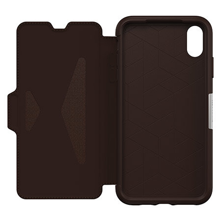 otterbox strada folio iphone xs max leather wallet case - espresso