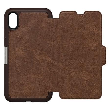 otterbox strada folio iphone xs max leather wallet case - espresso